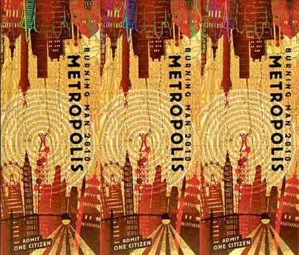 Burning Man Metropolis Ticket design