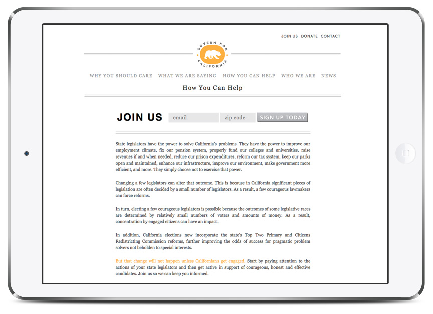 Website and branding for California governance website