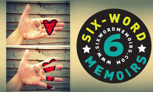 six-word-memoris on love and heartbreak by smith magazine, logo design