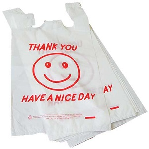 1-6 White Thank you Smiley Bag