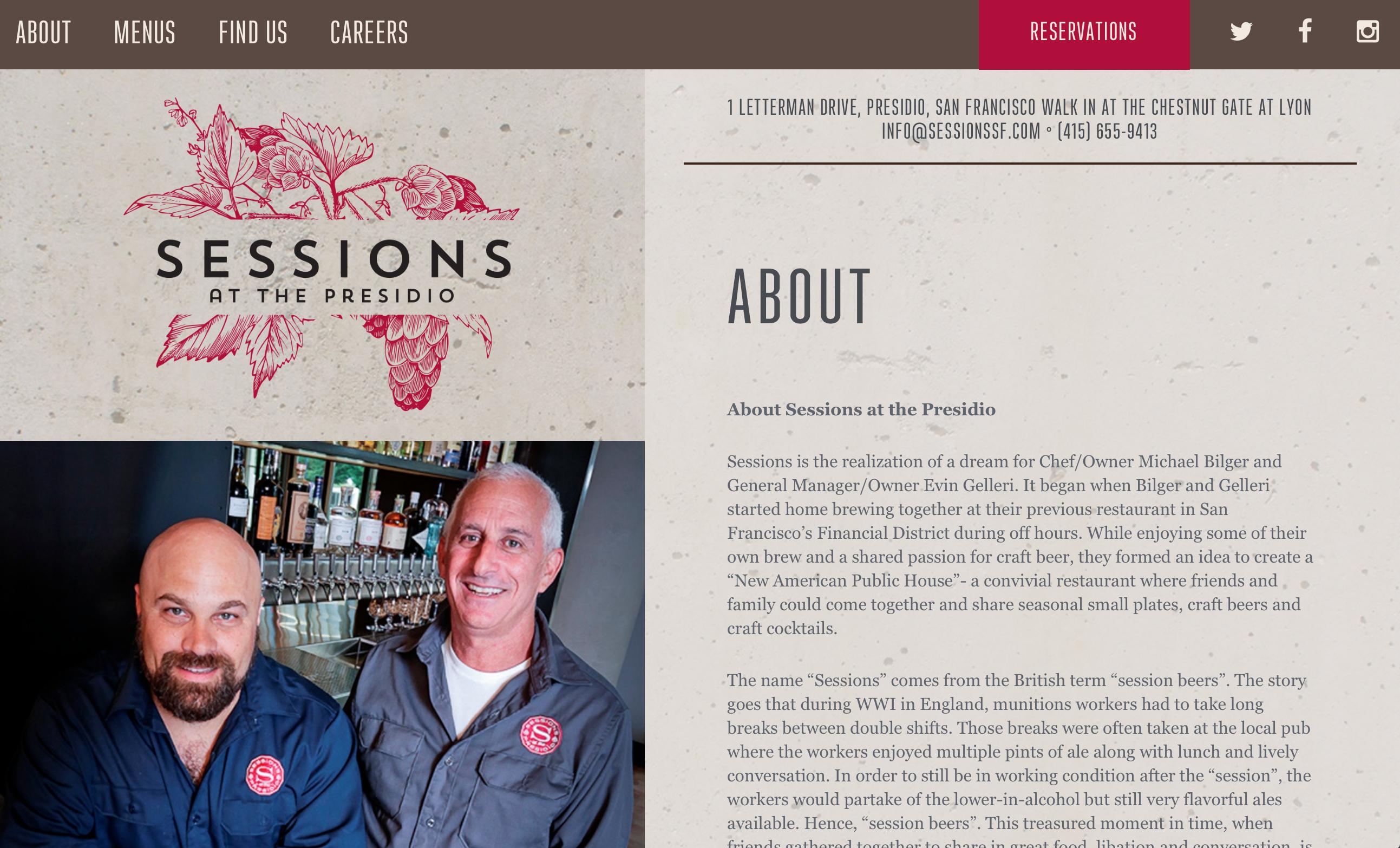 sessions restaurant web design