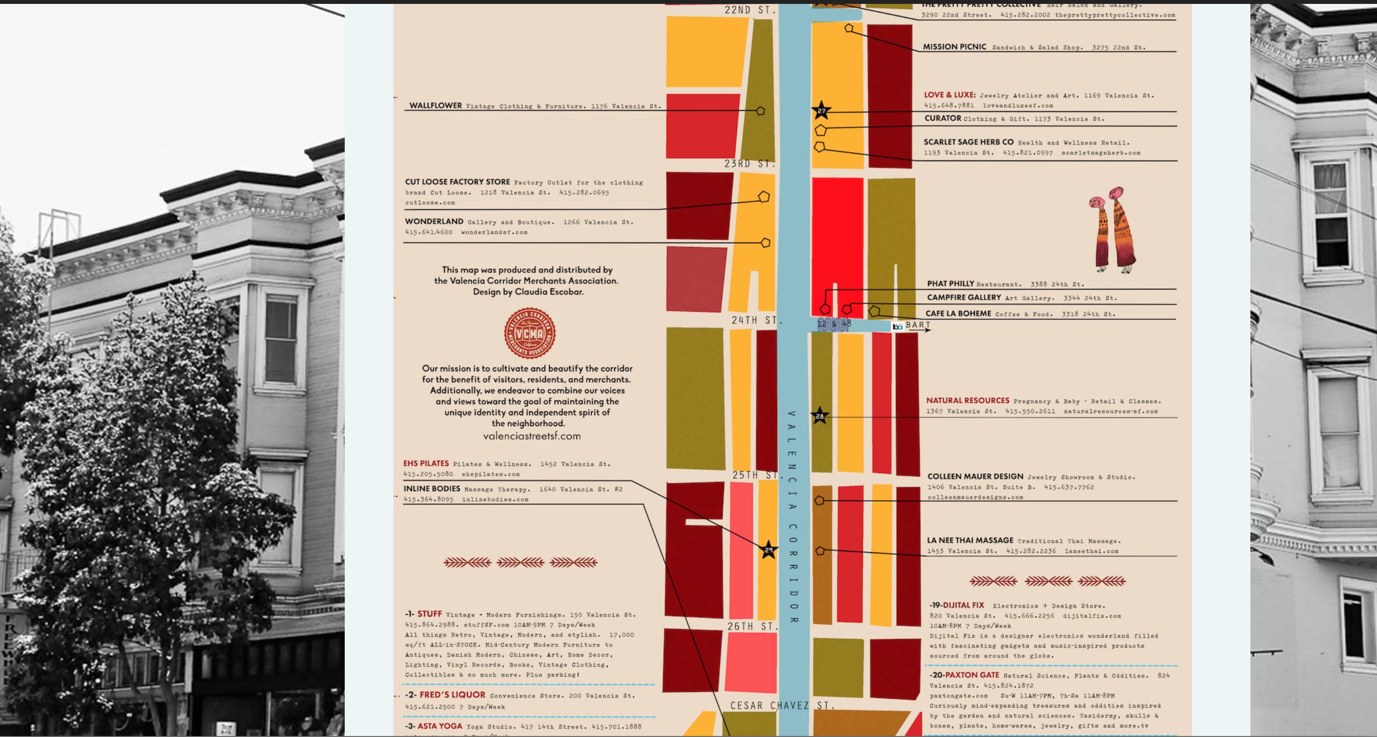 map for the Valencia Corridor Merchant's association website
