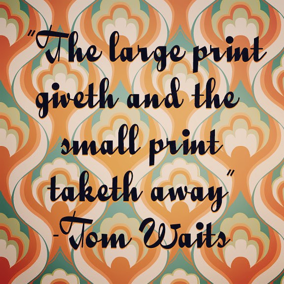 Tom Waits typographic lettering quote