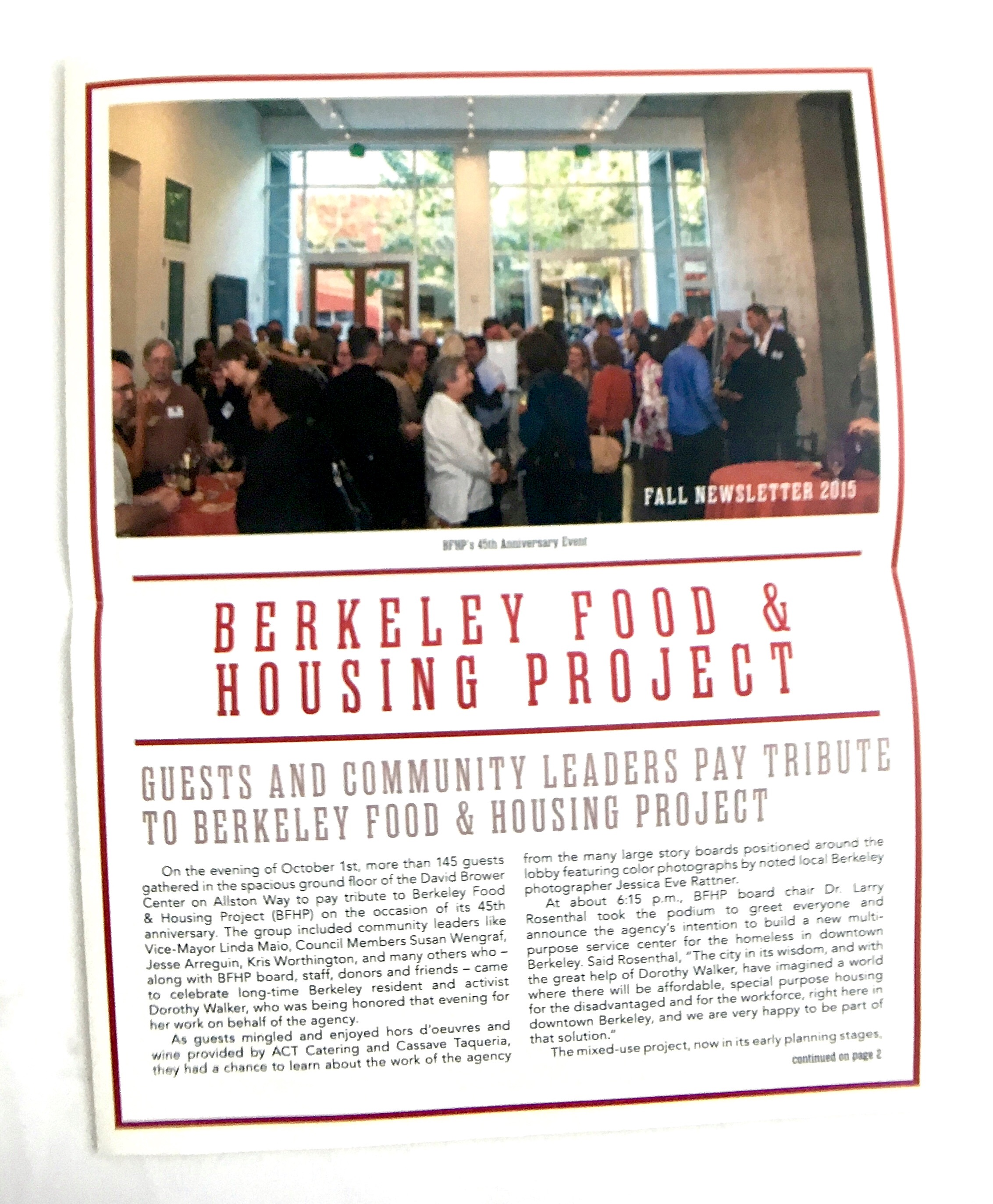 Berkeley Food and Housing Project's new newsletter design