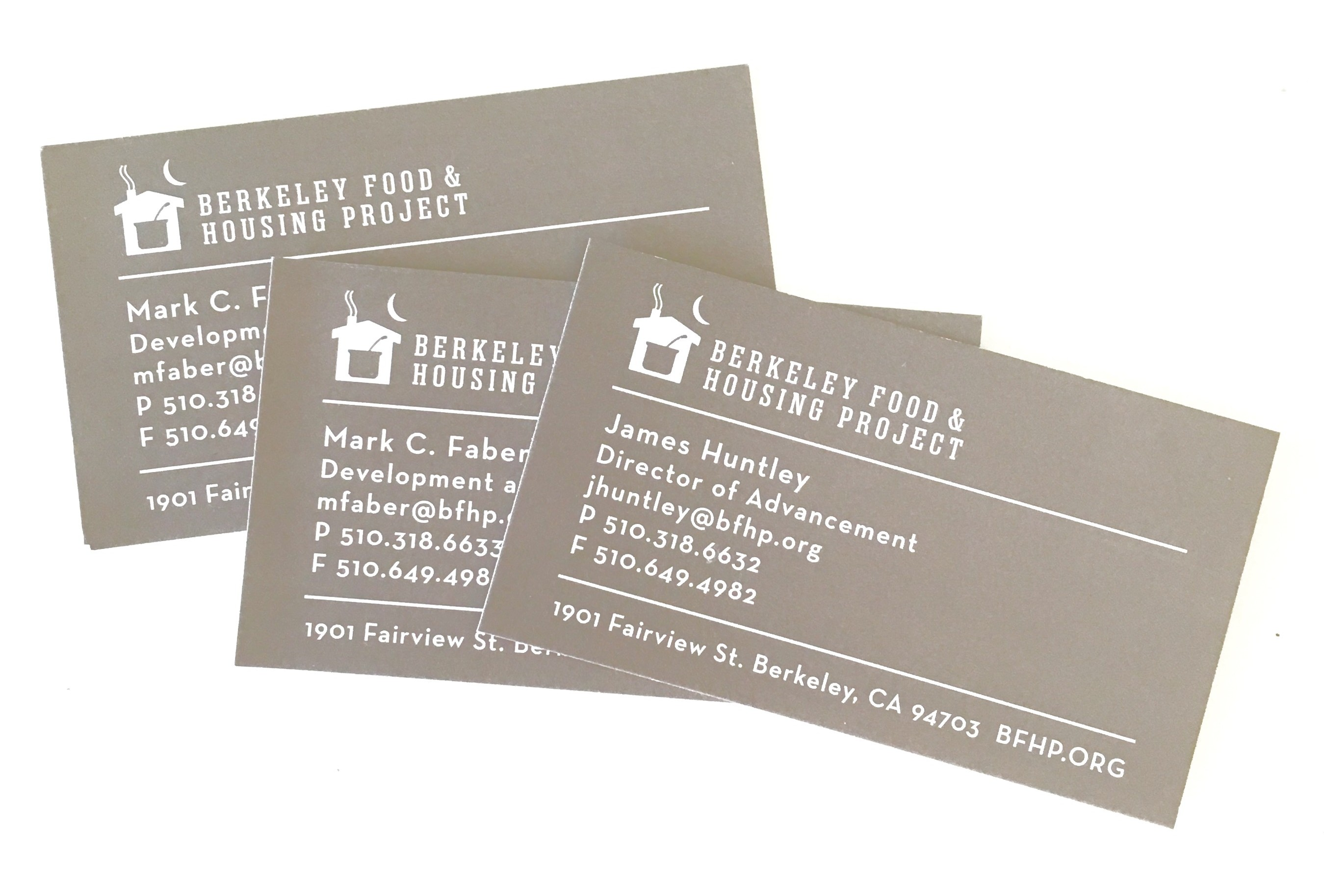 Identity and business card design for Berkeley Food and Housing Project