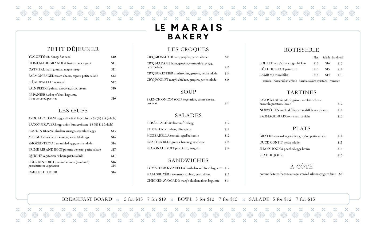 design of Le Marais Menus, San Francisco bakery and restaurant