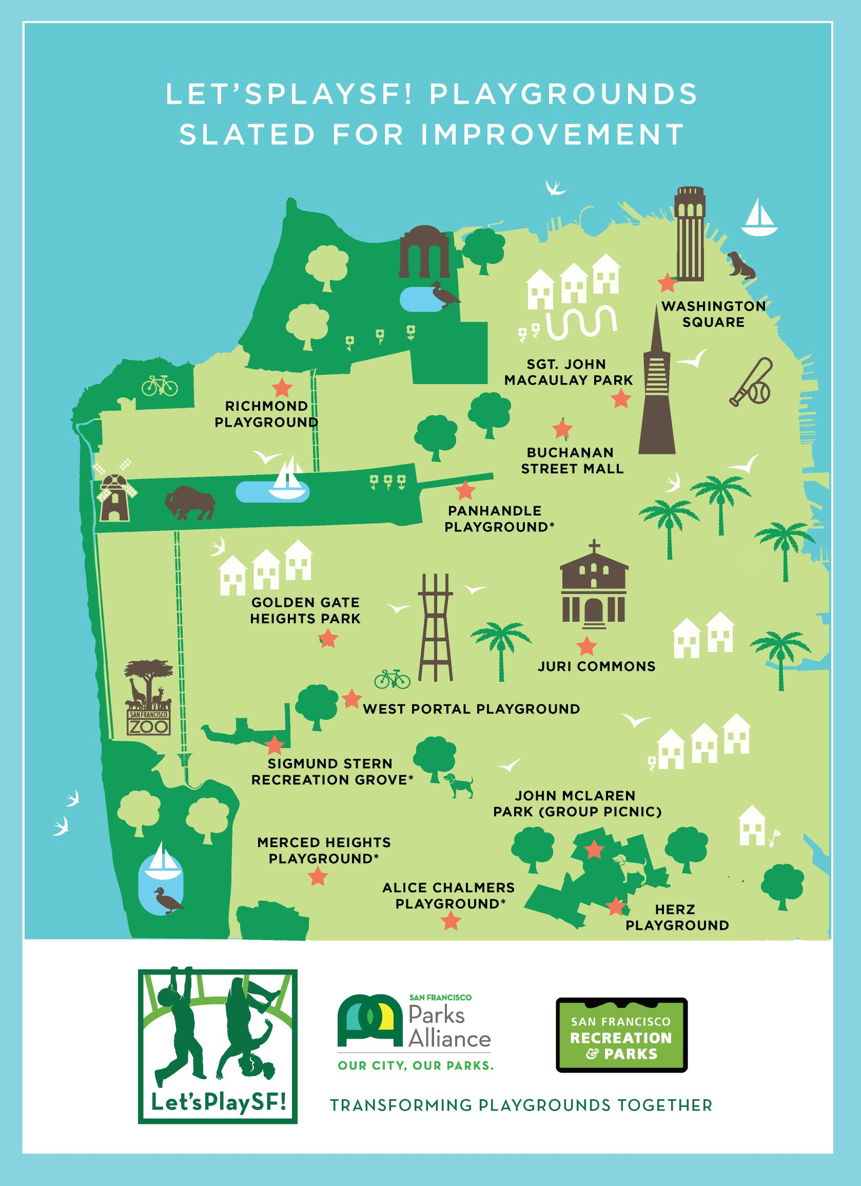 illustrated San Francisco parks map