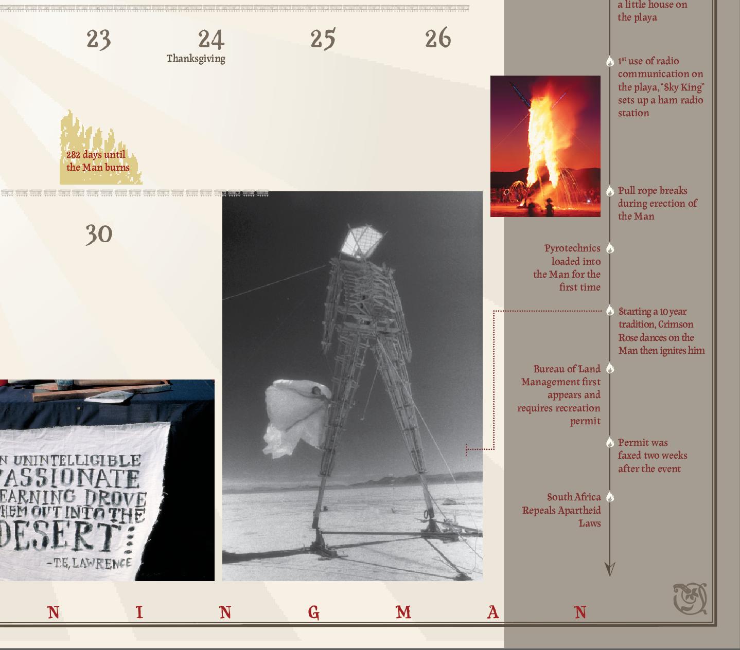 print design, burning man, calendar