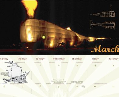 print design, burning man, calendar