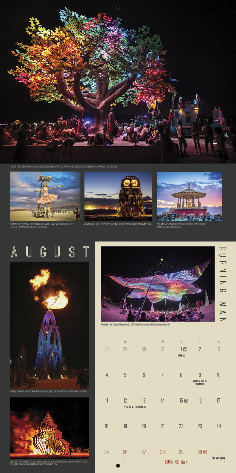 Burning Man design, calendar print design