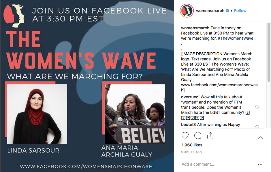 Women's Wave and Women's March graphic in use