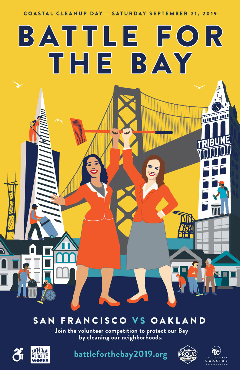 Battle For the Bay event branding and illustration for San Francisco and Oakland