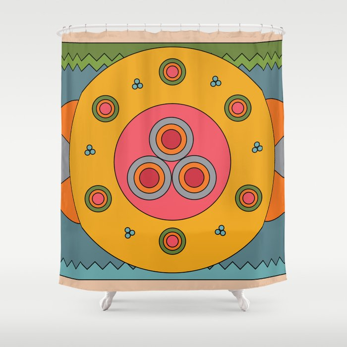 Custom design shower curtain, graphic, colorful, geometric and vibrant
