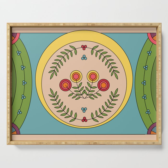 Serving tray with flowers and garlands. Graphic, geometric, colorful and unique