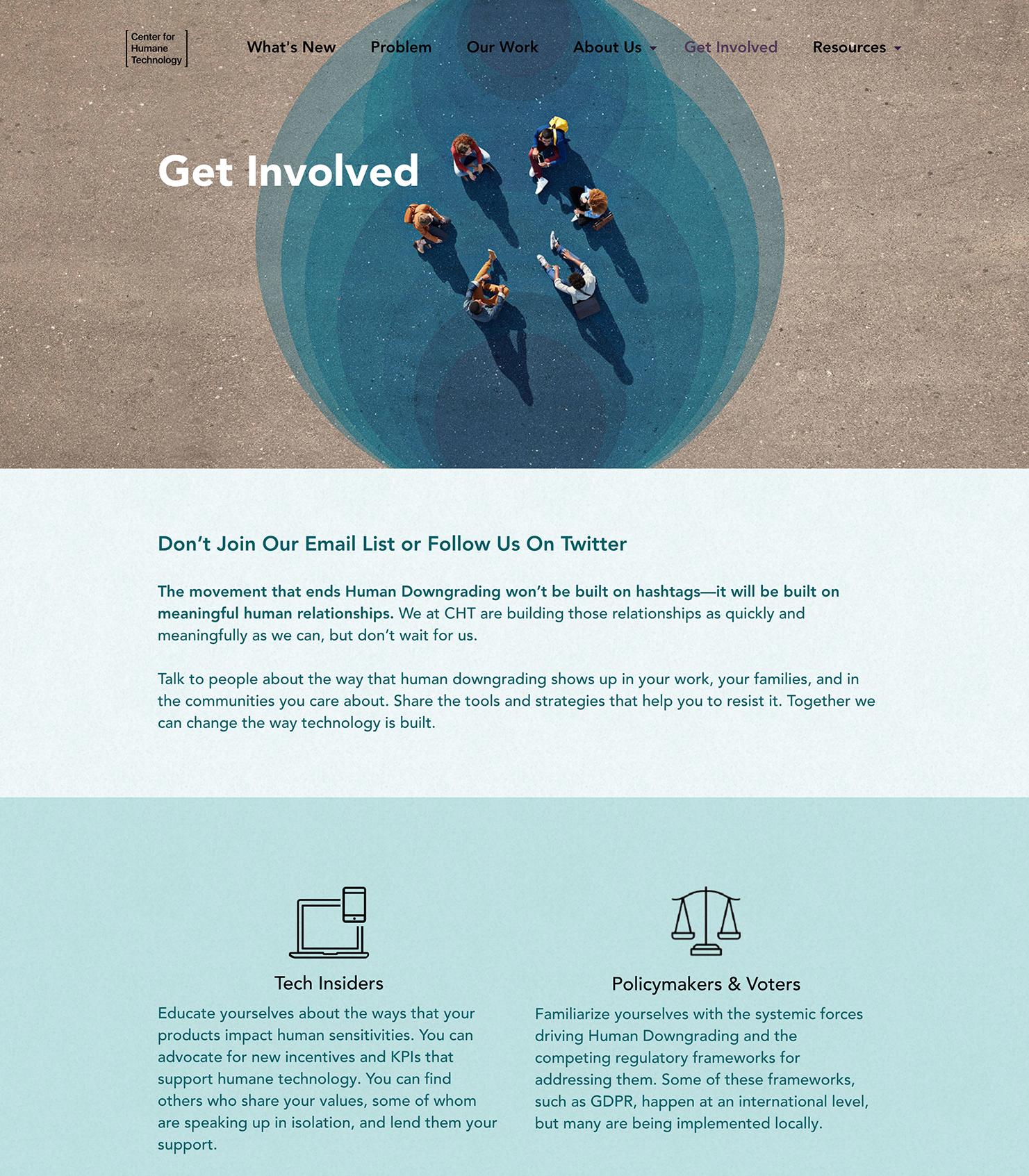 Bay Area Website design for CHT - Center for Humane Technology