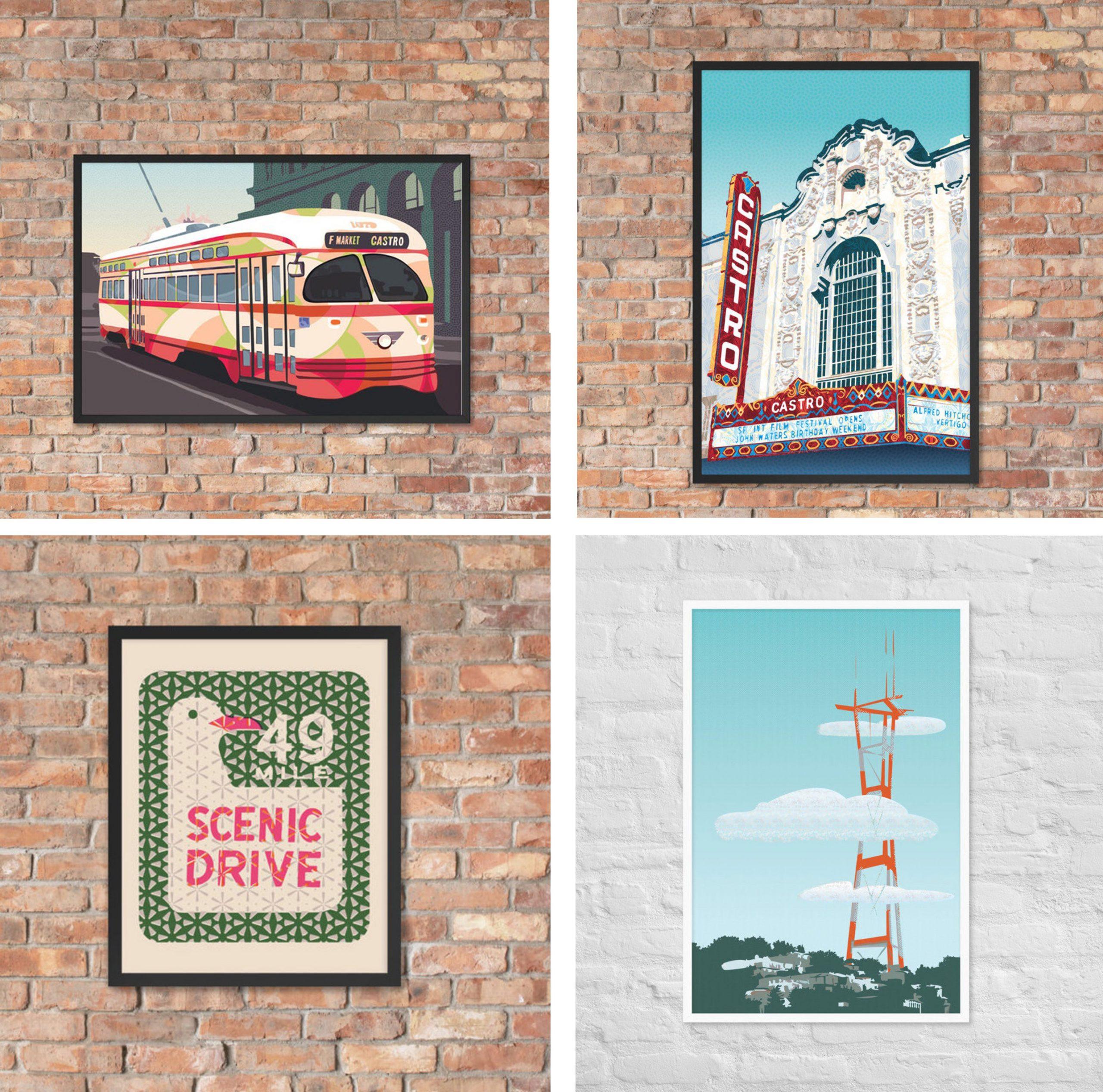 San Francisco posters for locals. Framed art prints of landmarks