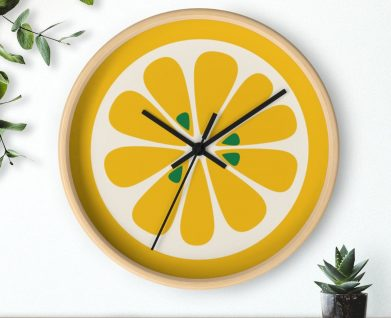 Retro mod lemon wall clock
