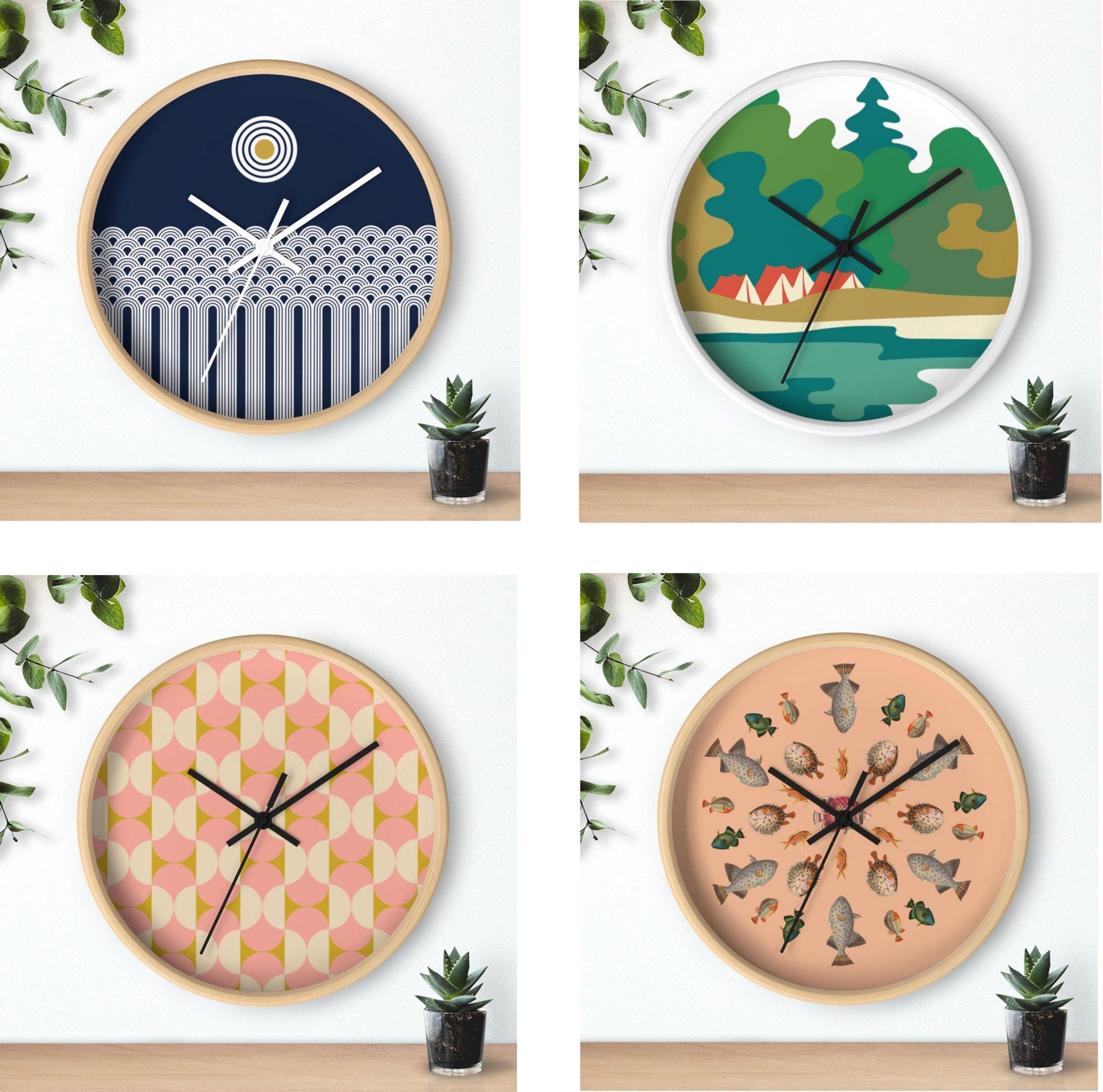 Shop: Modern wood wall clocks with original artwork and patterns